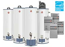 Photograph of assortment of water heaters